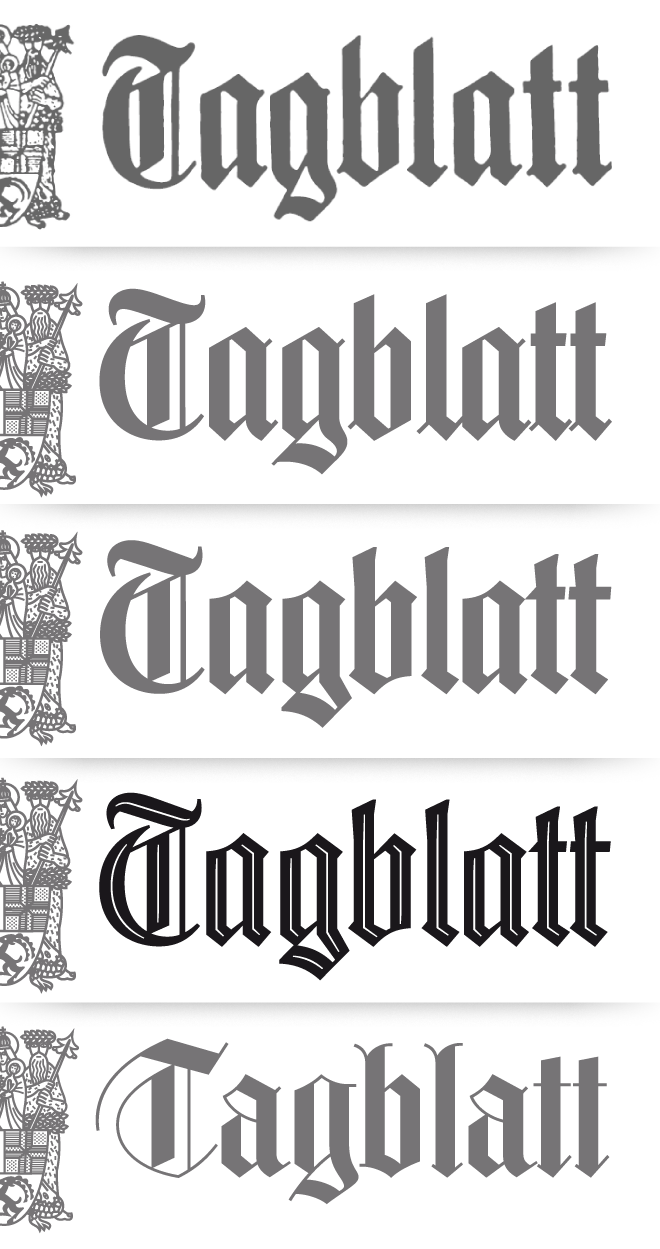 custom type, lettering, coat of armes, Heraldry,  signet, historical, blackletter, newspaper, flag, typographic, Jakob Runge, 26+, 26plus, typedesign, Bünder Tagblatt, European newspaper award, Chur, swiss, Grisons, optical sizes , inline,